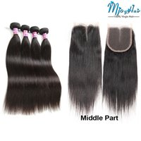 Wholesale Peruvian Hair 1pcs - Peruvian Straight Human Hair Bundles Weave with Lace Frontal Closure,4pcs Virgin Hair Extensions with 1pcs Weaves 4*4 Swiss lace Closure