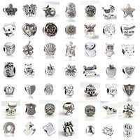 Wholesale zodiac snake - Fit Pandora Charm Bracelet 50 Styles European Silver Charms Big Hole Loose Bead DIY Snake Chain For Women Bangle Necklace Jewelry