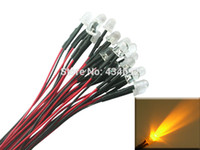 Wholesale led diode resistor - Wholesale- 20pcs 8mm Yellow Prewired Pre-Wired resistors LED Light Lamp Bulb Cable Diodes DC12V For Boat Car Tree Decoration