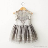 Kinder Mädchen Spitzenkleid Baby Mädchen Puff Sleeve Sommer Ballkleid Kleider Prinzessin Fairy Tulle Party Tanzkleid Crochet Flower Tops Tutu Kleid