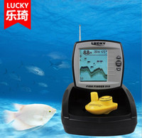 Wholesale Sonar Fish Detector - Wireless and wired 2 ways boat Fish Finder Professional night Fishing alarm detector Tools Sensor Sonar simple operation LCD display