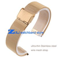 Wholesale 12mm Watch Band - Wholesale- ultra-thin Gold Stainless steel Watchband Mesh strap width10mm 12mm 14mm 16mm 18mm 20mm 22mm 24mm Bracelets Watch band