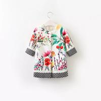 Wholesale Girl Vest Dress Coat - New 2017 Princess Dress Sets Flower Butterfly Printed Children Party Dresss Coat Cardigan + Vest Dress 2pcs Suits Boutique Clothing A7358