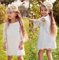 Wholesale Pure White Flower Girl Dresses - 2017 Summer Garden Bohemian Lace Flower Girl Dresses Princess Pure White Long Sleeves Short Kids First Communion Birthday Wear Gowns