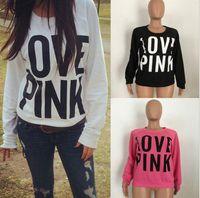Wholesale Women Long Shirts Hoods - Pink Letter Hoodies Love Pink Shirt Women Pink Printed Sweatshirts Tops Loose Pullover Hoodie Coat Long Sleeve Outerwear OOA3744