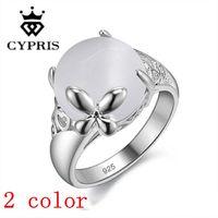 Wholesale Anillo Plata - price Hot silver ring women men opal white stone nice engagement lover gift joyas de plata anillo flecha fina CYPRIS 925