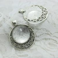 paramètres de cabochon argent antique achat en gros de-Sweet Bell 6set Antique Silver Alliage étoile 36 * 45mm (Fit25mm dia) Paramètres de pendentif cabochon rond + Cabochon de verre transparent A4107-1