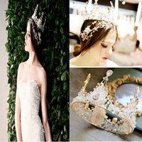 ingrosso corone di spettacolo di qualità-Top Quality Retro Crystal Queen Crown Elegante Handmade Bridal Jewelry Hairbands Per Wedding Pageant Party Gioielli da sposa Girlfriend Best