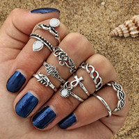 Wholesale Vintage Elephant Ring - 10 pcs set hot selling moon flower elephant joint ring set antique silver plated vintage bohemian turkish fashion women accessories