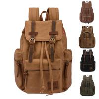 mochila de lona de lona casual venda por atacado-Atacado-Vintage Men Casual Canvas Leather Mochila Mochila Mochila School Bag Popular Mochila