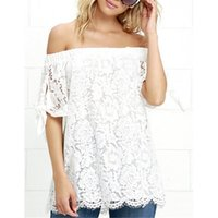 Wholesale Womens Crochet Short Sleeve Top - 2017 New Fashion Womens Off Shoulder Blouse Lace Crochet Shirts Summer Sexy Short Sleeve Casual Tops LN1235