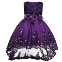 Wholesale Color Embroidered Wedding Dresses - Girl Dress Sequin Petal Princess Dresses Kids Children Clothing Girls Birthday Clothes Wedding Party Dress Girl