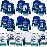 Wholesale Blue Yan - 2017-18 New Season Vancouver Canucks Jersey 67 Jordan Subban 72 Jaime Sifers 75 Yan-pavel Laplante Custom Hockey Jerseys White Blue