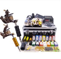 Wholesale Complete Tattoo Guns - A full set of tattoo kit complete tattoo tool equipment high-grade machine body art kit free shipping