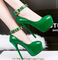 Recién llegado de ofertas especiales de venta Sweet Girl Princess Sexy Noble Nightclub Stiletto boca baja remaches plataforma punky Ultra Heel Shoes EU34-39