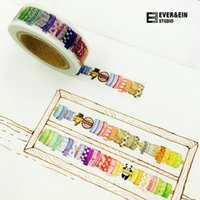 Wholesale Tape Cartoon Designs - Wholesale- 2016 1 pcs lot DIY Cartoon Paper Washi Masking Tapes More Tapes Design decorative adhesive tape stickers School Supplies