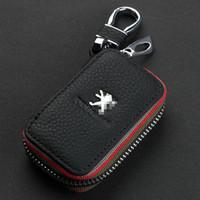 ingrosso caso di chiave dell'automobile di cuoio di ford-NUOVO Portachiavi in pelle Premium Catene in pelle con chiusura a cerniera Supporto per borsa a portafoglio Accessori per Ford Peugeot Citroen Auto