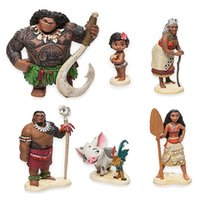 Wholesale 6pcs set cm Moana Princess Maui Chief Tui Tala Heihei Pua Action Figure Brinquedo Toys For Children New Year Gift