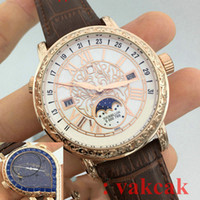 Wholesale Black Quartz Gold - Quartz New PP Top luxury brand Sky Moon Tourbillon Men's Stainless Steel Automatic Movement Watch Sports mens Watches tag Wristwatch