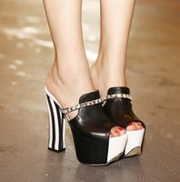 Wholesale Heels Slip Women Shoes - 2017 New summer white black stripe peep toe slip on thick high heels shoes women sandals size 34 to 39
