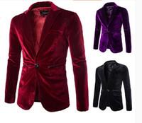Wholesale Casual Blazers For Men - Wholesale- Mens Burgundy Velvet Blazer Traje Hombre Purple Black Corduroy Suits Jacket For Men Casual Fashion One Button Coat M-XXL