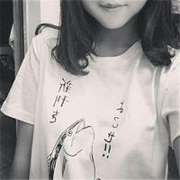 Wholesale Fresh Clothing - Wholesale-new 2016 gun fish print fashion t-shirt women short-sleeve Simple fresh tops HARAJUKU tees woman t shirt Women's Clothing