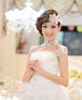 Wholesale Fairy Dress Set - Necklace+Earring Wedding Jewelry 2017 Applique Lace Crystal Elegant Bridal Wedding Dresses High Neck Sets For Women Cheap