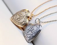 2016 New Arrival Valentines Gift Pet Dog Paw Charm Pendant Box Picture Locket ajuste Necklace Women Heart Shape Jewelry