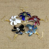 Wholesale Enamel Charms Mix - Ethnic style cloisonne enamel oval flower shell wings dark shape drop earring Charm Hand-painted colorful mix wholesale