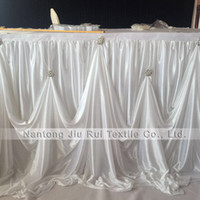 Wholesale iced events - Hot Sale 2 pcs 3m L * 29 Inch H New Design Luxury Diamond Pearl Brooch Ice Silk Table Skirting Table Skirt For Wedding Event Decoration