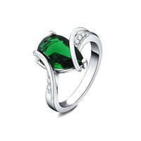Wholesale Emerald Rings For Women - New High Quality Fashion Party Wedding Jewelry Silver Plated Created Green Emerald Stone Teardrop 7# 8# Size Ring for Women Gift