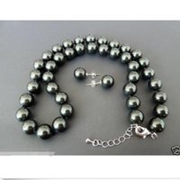 Wholesale Beaded Circle Earrings - AAA 10mm black south sea shell pearl earring and necklace set