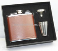Wholesale Wine Gift Box Black - Brown pu leather wrapped 6oz wine flask with 4 shot glass and funnel in black gift box packing