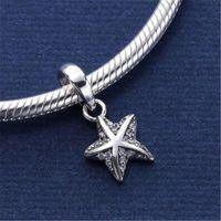 starfish 925 armband großhandel-925 Sterling Silber Anhänger Charm Tropical Starfish Clear Cz schwimmende Charms passt europäischen Stil Schmuck Halskette Armband