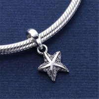 Colgantes tropicales Baratos-925 Sterling Silver Pendiente Encanto Tropical Starfish Clear Cz Floating Encantos Se adapta a Estilo Europeo Joyas Collar Pulsera