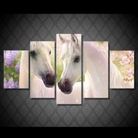 Wholesale horse art canvas set - 5 Pcs Set Framed HD Printed White Horse Animal Picture Wall Art Canvas Room Decor Poster Canvas Abstract Oil Painting