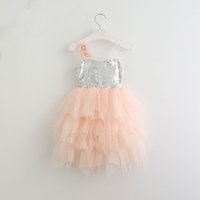 Discount ruffles cakes - Everweekend 2017 Girls Tulle Sequins Pearl Flower Cake Sundress Ruffles Sweet Baby Pink Color Clothing Princess Summer Party Dress
