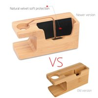 cargador iwatch al por mayor-2017 para Apple Watch iWatch iPhone Bamboo Charging Station Stand USB Charger Dock Bucket Wood Phone Holder para iPhone 7 6 Plus 5S