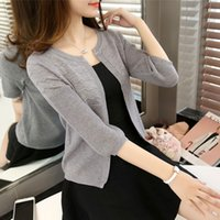 Wholesale women s cashmere sweaters wholesale - Wholesale- 2016 autumn solid color women fashion cashmere Sweater female warm cardigan large outerwear short Knitted Cardigans coats tops