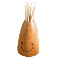 Atacado-cute sorriso toothpick Holder madeira Carving Toothpick Box Carrier