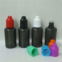 damlatıcı siyah toptan satış-Duman Siyah PE Yağ Şişesi 30 ml E Çiğ Suyu Yumuşak Plastik Boş Damlatıcı Şişeler 30 ml Renkli Çocuk Vape Sıvı Eliquid Için Caps