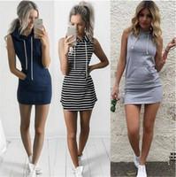 xl bodycon bandaj elbisesi toptan satış-2017 moda kadınlar seksi yaz bandaj bodycon akşam parti kokteyl casual kısa mini dress bayan giyim şerit kapüşonlu kolsuz dress