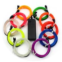 dekoratif şeritler toptan satış-10 Renkler 3 M 3 V Esnek Neon Işık Glow EL Halat Bant Kablo Şerit LED Neon Işıkları Ayakkabı Giyim Araba Dekoratif Şerit Lambası