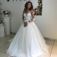 elegantes weißes langes kleid großhandel-Elegante Spitze Appliques Langarm Brautkleider Ballkleider Durchsichtig Weiß Tüll Brautkleid vestidos de novias