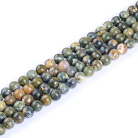 Top quality Natural old peacock stone round loose ball Beads 15