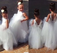 Wholesale Open Back Wedding Dresses Prices - Pretty White Tulle Open Back Cheap Price Flower Girl Dresses 2017 Hot Sale Vestido de Daminha Floor Length Wedding Party Gown HY1195