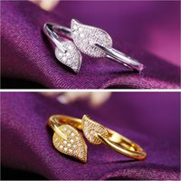 Wholesale Couples Wedding Dress - Plant Fine Jewelry Crystal AAA+ CZ Opening Couple Wedding Dressed Rings Two Color Charms Silver 24K Gold-plated Hot Sales Free Shipping