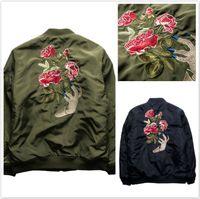 chaqueta de fantasmas al por mayor-Undercover MA1 Military Bomber Jacket Hombres Nuevo Hip Hop Fantasma Mano Bordado Rose Flower Thermal Alpha Pilote Chaquetas Motor Coat