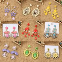 Wholesale Earring Resin Dangle - New Trendy Long Flower Type Drop Earrings For Women Colorful Resin Crystal Tassels Dangle Jewelry Earring Bohemian mixed
