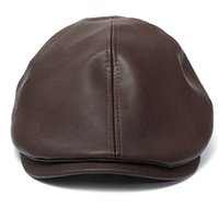 Wholesale peaked cap leather - Wholesale-2016 Hot New Men's Women's Faux Leather Peaked Cap Newsboy Bonnet Beret Cabbie Gatsby Flat Golf Hat 15 smt